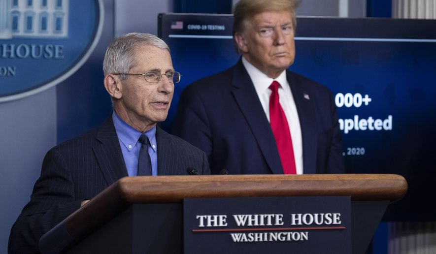 Dr. Anthony Fauci, director of the National Institute of Allergy and Infectious Diseases, talks about the coronavirus, as President Donald Trump listens, in the James Brady Press Briefing Room of the White House in Washington. (AP Photo/Alex Brandon, File)