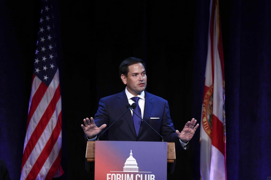 FILE - In this Aug. 21, 2019, file photo, Sen. Marco Rubio, R-Fla., speaks during a Forum Club meeting, in West Palm Beach, Fla. Sen. Rubio mistakenly tweeted a photo of himself and Rep. Elijah Cummings, another Black civil rights icon, in a condolence message Saturday, July 18, 2020, meant to honor Rep. John Lewis. The faux pas was quickly discovered and the Rubio replaced it with a video of himself and Lewis at a Miami event. Lewis died Friday at the age of 80. (AP Photo/Brynn Anderson, File)