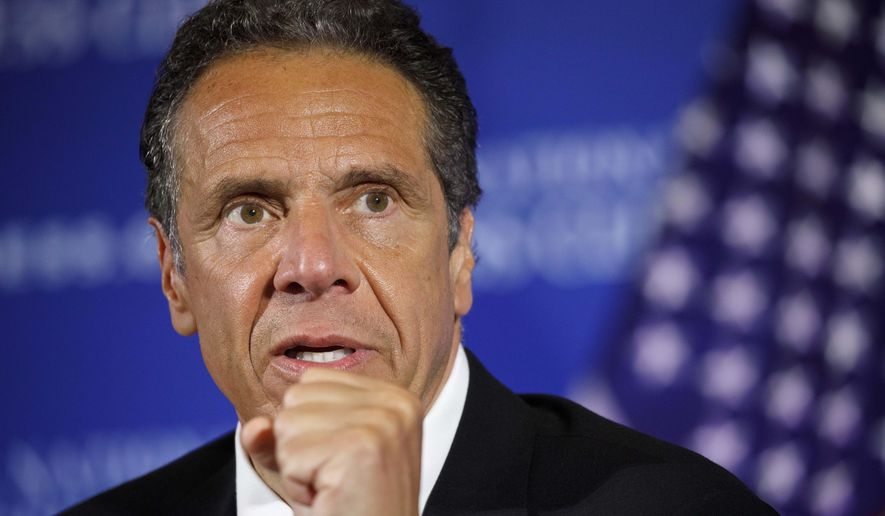 In this May 27, 2020, file photo, New York Gov. Andrew Cuomo speaks during a news conference at the National Press Club in Washington. Cuomo said on Saturday, June 18, 2020 that the number of people hospitalized with COVID-19 in New York state dropped to 743 and 11 more people had died. (AP Photo/Jacquelyn Martin, File)