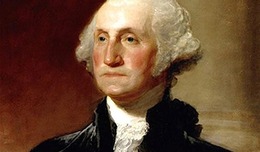 President George Washington, as painted by Gilbert Stuart in 1796, now in the National Portrait Gallery in Washington. (Associated Press)