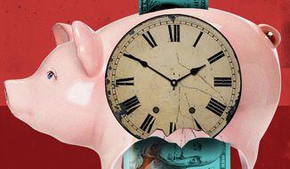 Illustration on increasing national debt by Linas Garsys/The Washington Times