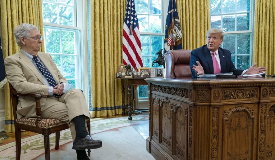 Senate Majority Leader Mitch McConnell of Ky., listens as President Donald Trump speaks during a meeting in the Oval Office of the White House, Monday, July 20, 2020, in Washington. (AP Photo/Evan Vucci)