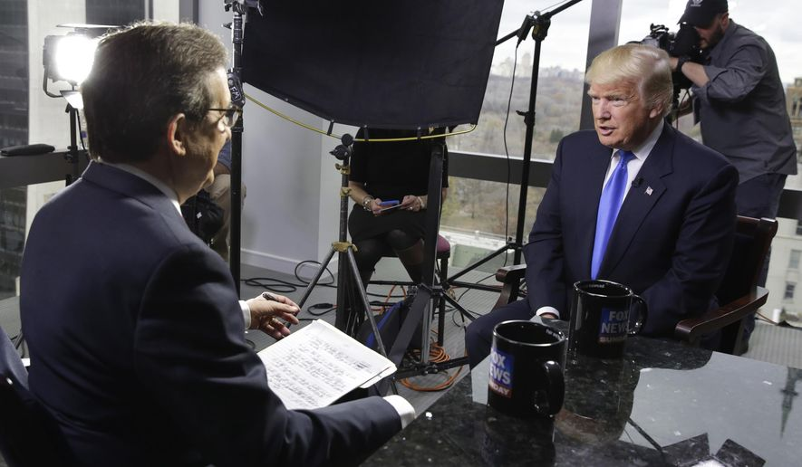 "Chris Wallace of ""Fox News Sunday,"" left, interviews then-President-elect Donald Trump on Dec. 10, 2016 in New York. Two veteran journalists who now teach the craft say Mr. Wallace's interview with President Donald Trump on Sunday will be an example of excellence that they show their students. The interview, where Mr. Wallace asked the president some blunt questions and challenged some facts, was seen as an example of what can result from hard work and preparation. (AP Photo/Richard Drew, File)"