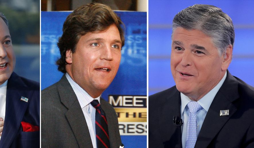 """In this combination photo, Ed Henry, from left, speaks on """"Fox & Friends"""" on Sept. 6, 2019, in New York, Tucker Carlson arrives for the 60th anniversary celebration of NBC's Meet the Press on Nov. 17, 2007, in Washington and Sean Hannity interviews Roseanne Barr during a taping of his show on July 26, 2018, in New York. Two women filed a lawsuit against Fox News that named network stars Hannity, Carlson and Ed Henry. (AP Photo)"""