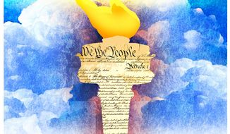 Illustration on the founding principles, Constitution and ideals of America by Alexander Hunter/The Washington Times