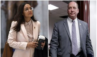 "This combo shows Rep. Alexandria Ocasio-Cortez, D-N.Y., walks Capitol Hill in Washington, on March 27, 2020, left, and Rep. Ted Yoho, R-Fla., at the Capitol in Washington on March 28, 2017. A top House Democrat demanded an apology Tuesday, July 21, 2020, from Mr. Yoho who is accused of using a sexist slur after an angry encounter with Ocasio-Cortez. Mr. Yoho apologized on the House floor on July 22 for the previous day's heated exchange, but denied that he called the New York Democrat a ""f***ing b*tch."" (AP Photo, File)  **FILE**"
