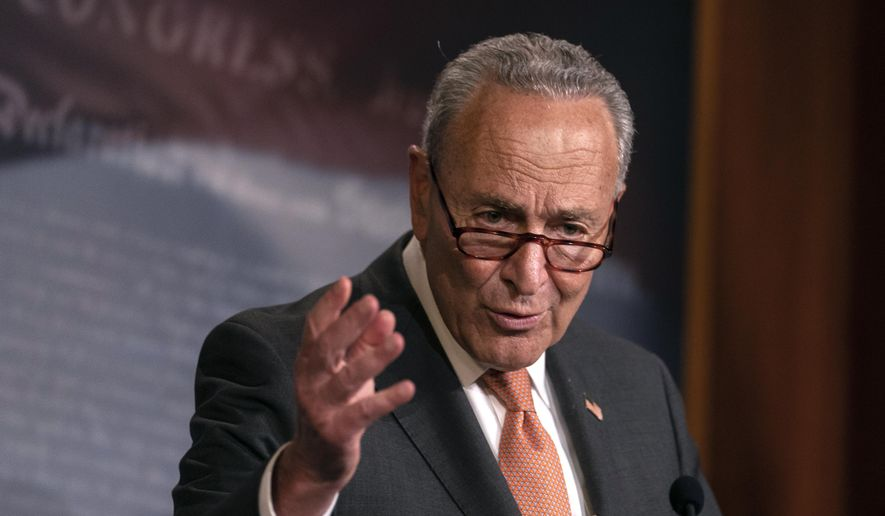 Senate Minority Leader Sen. Chuck Schumer of N.Y., speaks during a news conference on Capitol Hill in Washington, Tuesday, July 21, 2020. (AP Photo/Carolyn Kaster)
