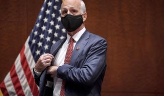 House Armed Services Committee Chairman Adam Smith, D-Wash., arrives for a House Armed Services Committee hearing on Thursday, July 9, 2020, on Capitol Hill in Washington. (Greg Nash/Pool via AP)