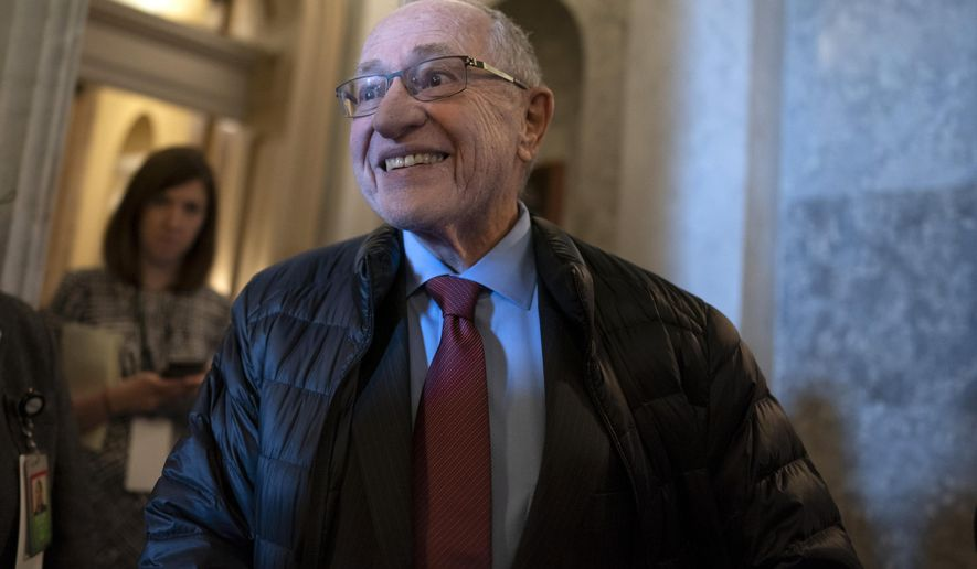 FILE - In this Jan. 29, 2020 file photo Attorney Alan Dershowitz arrives for the impeachment trial of President Donald Trump at the Capitol in Washington. Some Alaska Bar Association members are objecting to the selection of Dershowitz to give the keynote at this year's annual conference. Alaska's Energy Desk say critics point to his ties to Jeffrey Epstein, which causes concern for a state that traditional has high rates of violence toward women. (AP Photo/J. Scott Applewhite, File)