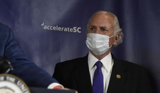 South Carolina Gov. Henry McMaster looks on during a media briefing on coronavirus response with Vice President Mike Pence on Tuesday, July 21, 2020, in Columbia, S.C. (AP Photo/Meg Kinnard)