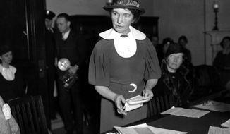 In this March 1, 1934, file photo, Margaret Sanger, who founded the American Birth Control League in 1921, speaks before a Senate committee to advocate for federal birth-control legislation in Washington. Planned Parenthood of Greater New York is removing Sanger's name from a Manhattan clinic because of the birth control pioneer's ties to the eugenics movement, the organization announced Tuesday, July 21, 2020. (AP Photo, File)