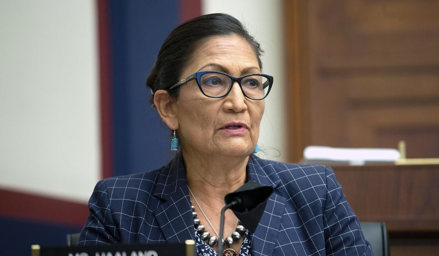Rep. Debra Haaland, D-N.M., speaks, Monday, June 29, 2020, on Capitol Hill in Washington, during the House Natural Resources Committee hearing on the police response in Lafayette Square. (Bonnie Cash/Pool via AP)