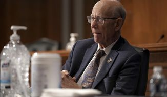 Sen. Pat Roberts, R-Kan., listens during a Senate Health, Education, Labor and Pensions Committee hearing, Tuesday, June 23, 2020 on Capitol Hill in Washington, to discuss the lessons learned during the coronavirus. (Greg Nash/Pool via AP)