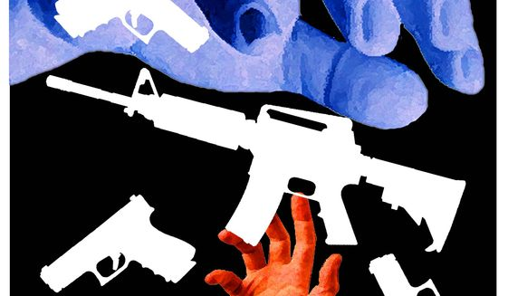 Illustration on threats to gun rights by Alexander Hunter/The Washington Times