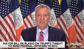 """New York City Mayor Bill de Blasio discusses nationwide violence by Black Live Matter protesters, along with President Trump's response, July 22, 2020. The Democrat said that a lawsuit would be filed if federal agents are deployed to protect federal buildings in the city. (Image: MSNBC, """"Morning Joe"""" video screenshot)"""