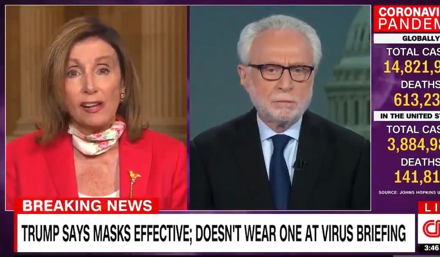 House Speaker Nancy Pelosi talks about the coronavirus pandemic with CNN's Wolf Blitzer, July 21, 2020. (Image: CNN video screenshot)