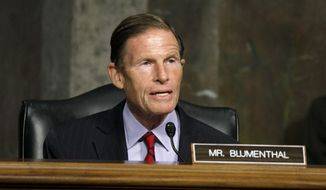 Sen. Richard Blumenthal, D-Conn., speaks Wednesday, July 22, 2020, during a Senate Judiciary Committee hearing to examine protecting the integrity of college athletics, on Capitol Hill in Washington. (AP Photo/Jacquelyn Martin) ** FILE **