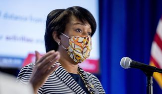 District of Columbia Mayor Muriel Bowser wears a face mask to protect against the spread of the coronavirus outbreak, as she speaks at a news conference on the coronavirus and the District's response, Monday, July 20, 2020 in Washington. In the face of newly rising infection numbers, Bowser says she'll issue an executive order making face masks mandatory outside the home. (AP Photo/Andrew Harnik)