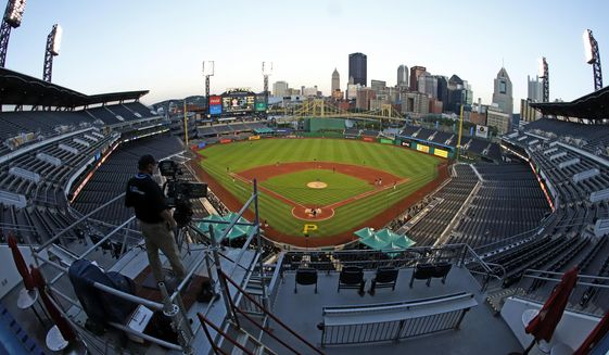 The Cleveland Indians and the Pittsburgh Pirates play an exhibition baseball game at PNC Park in Pittsburgh, Saturday, July 18, 2020. (AP Photo/Gene J. Puskar)  **FILE**
