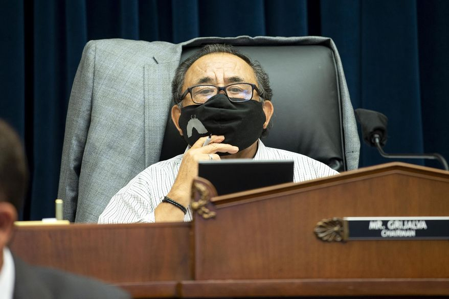 In this June 29, 2020, file photo, Committee Chairman Rep. Raul Grijalva, D-Ariz., listens on Capitol Hill in Washington, during the House Natural Resources Committee hearing. (Bonnie Cash/Pool via AP) ** FILE **