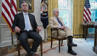 Senate Majority Leader Mitch McConnell of Ky., right, and House Minority Leader Kevin McCarthy of Calif., listen as President Donald Trump speaks during a meeting in the Oval Office of the White House, Monday, July 20, 2020, in Washington. Congress is just starting to negotiate new legislation to renew coronavirus aid. But the biggest obstacles to a deal are already coming into view. The Democratic House passed a whopping $3.5 trillion coronavirus response bill more than two months ago and is demanding robust funding to help state and local governments. Republicans want to keep the bill closer to $1 trillion and are insisting on new legal protections for schools, businesses, and charities that are trying to reopen. It's up to top congressional leaders to bridge the gaps as they negotiate with President Donald Trump's White House.  (AP Photo/Evan Vucci)