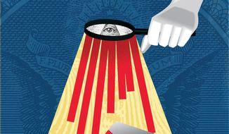Illustration on government overregulation by Linas Garsys/The Washington Times
