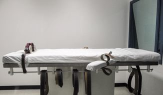 This July 7, 2010, file photo shows Nebraska's lethal injection chamber at the State Penitentiary in Lincoln, Neb. On July 29, 2020, the U.S. government announced an execution date was set for the only Native American on federal death row, a penalty opposed by the Navajo Nation but upheld by federal appeals courts. (AP Photo/Nate Jenkins, File)  **FILE**