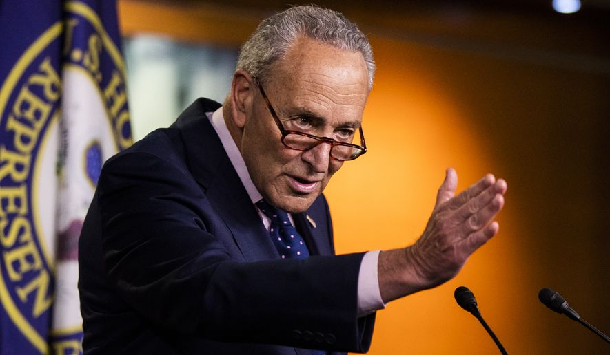 Senate Minority Leader Chuck Schumer of N.Y., speaks during a news conference with House Speaker Nancy Pelosi of Calif., on Capitol Hill, Thursday, July 23, 2020, in Washington. (AP Photo/Manuel Balce Ceneta) **FILE**