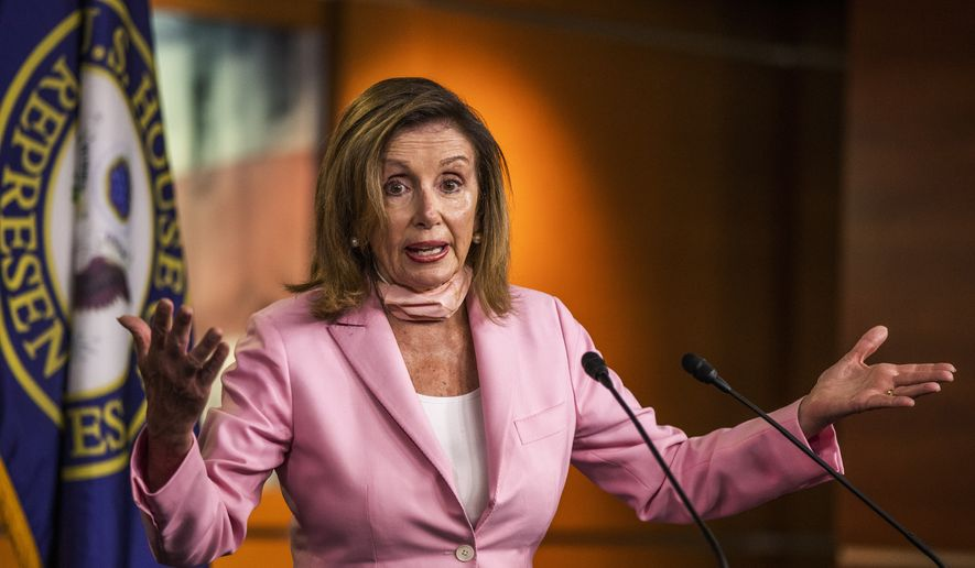 House Speaker Nancy Pelosi of Calif., speaks during a news conference on Capitol Hill, Thursday, July 23, 2020, in Washington. (AP Photo/Manuel Balce Ceneta)