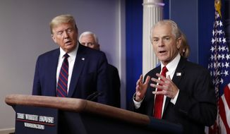 In this Friday, March 27, 2020, file photo, White House adviser Peter Navarro speaks about the coronavirus in the James Brady Press Briefing Room in Washington, as President Donald Trump listens. (AP Photo/Alex Brandon)