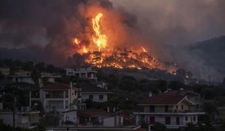Fire burns near the village of Galataki as authorities evacuate the place near Corinth, Greece, on Wednesday, July 22, 2020. More than 250 firefighters, backed by water-dropping aircraft, were struggling Wednesday to contain a large wildfire fanned by strong winds that has forced the evacuation of five settlements in southern Greece. (AP Photo/Petros Giannakouris)