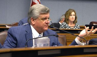 FILE - In this Aug. 13, 2019 file photo, House Republican leader Lance Harris, R-Alexandria, asks questions of Louisiana Department of Health officials about new contract awards for the Medicaid managed care program, in Baton Rouge, La.  Harris, is running for the 5th Congressional District seat in Louisiana. (AP Photo/Melinda Deslatte)