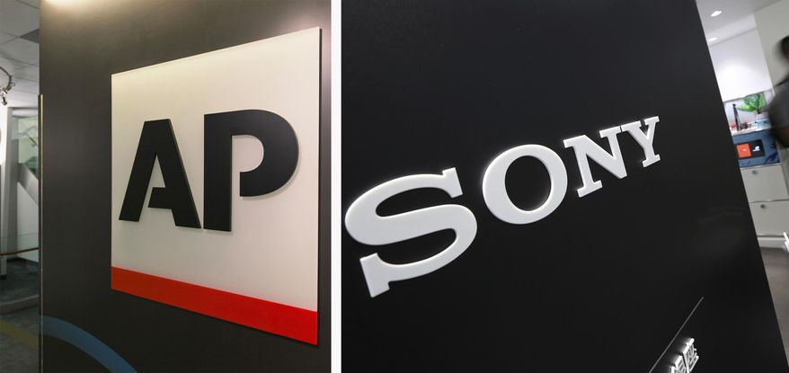 This combination photo shows the Associated Press logo on April 26, 2016, in New York, left, and a Sony logo on July 31, 2014, in Tokyo. The Associated Press and Sony Electronics announced a deal to equip all of the news cooperative's still and video photojournalists with new cameras. It will be the first time the AP will have photographers across the world using cameras from the same manufacturer, which the news cooperative hopes will improve consistency and speed. (AP Photo)