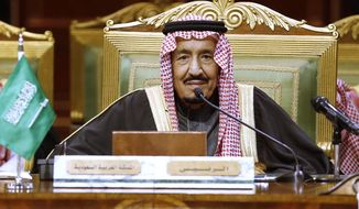 FILE - In this Dec. 10, 2019, file photo, Saudi King Salman chairs the 40th Gulf Cooperation Council Summit in Riyadh, Saudi Arabia.  Saudi Arabia says that 84-year-old King Salman has undergone a successful surgery to remove his gallbladder. The state-run Saudi Press Agency reported Thursday, July 23, 2020,  that the surgery took place, saying the king underwent the procedure at at the King Faisal Specialist Hospital in Riyadh. (AP Photo/Amr Nabil)