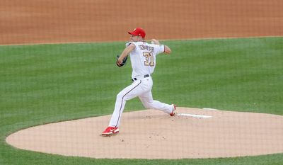 Washington Nationals starter Max Scherzer throws the first pitch of the opening game of the MLB season against the New York Yankees on Thursday, July 23, 2020, at Nationals Park in Washington, D.C. (Photo by All-Pro Reels)