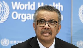 In this Feb. 24, 2020, photo, Tedros Adhanom Ghebreyesus, director-general of the World Health Organization (WHO), addresses a press conference about the update on COVID-19 at the World Health Organization headquarters in Geneva. (Salvatore Di Nolfi/Keystone via AP) ** FILE **