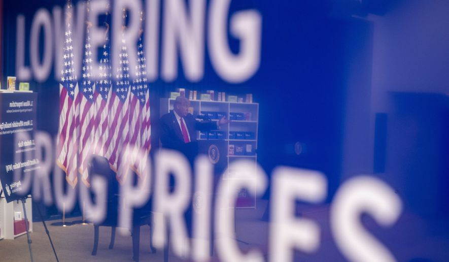 President Donald Trump is reflected in a television monitor as he speaks during an event to sign executive orders on lowering drug prices, in the South Court Auditorium in the White House complex, Friday, July 24, 2020, in Washington. (AP Photo/Alex Brandon)