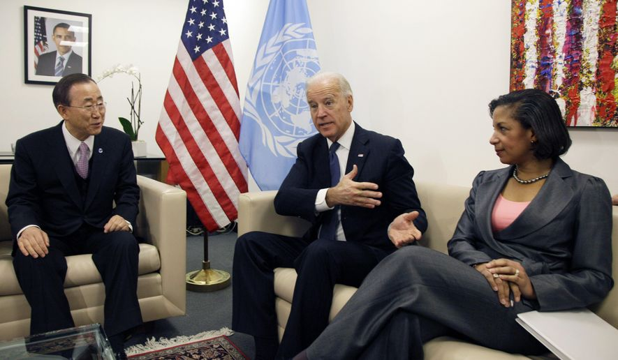 FILE - In this Dec. 15, 2010, file photo Vice President Joe Biden, center, and Susan Rice, the U.S. Ambassador to the United Nations, meet with U.N. Secretary-General Ban Ki-moon before a session of the U.N. Security Council, at U.N. headquarters. Democratic presidential nominee Joe Biden is in the final stages of selecting his running mate. Among the contenders is Susan Rice, who worked closely with Biden in the Obama administration and regularly briefed him on pressing foreign policy matters when she served as national security adviser. (AP Photo, File)