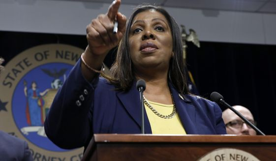 State Attorney General Letitia James accused top officials at the NRA of diverting millions of dollars of charitable donations made to the lobbying group and squandering it on family vacations, private jets and expensive dinners. (Associated Press/File)