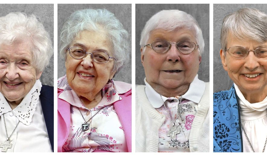 This combination of photos provided by the School Sisters of St. Francis shows Sisters Annelda Holtkamp, Bernadette Kelter, Josephine Seier and Marie June Skender. The nuns, who died from COVID-19 in March and April 2020, had retired years ago. Some moved into the Our Lady of the Angels assisted living facility in Wisconsin, when it opened in 2011. (School Sisters of St. Francis via AP)