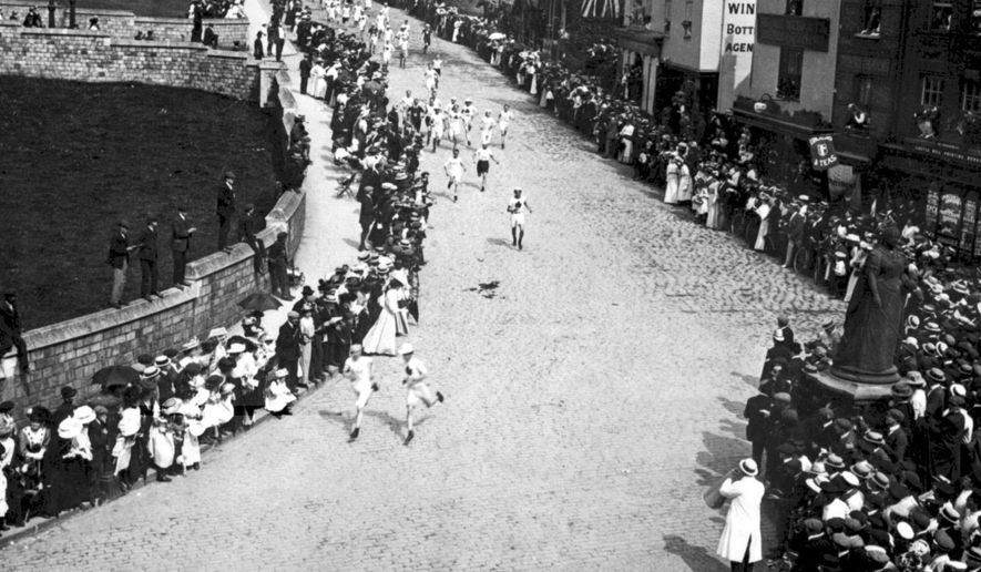 FILE - This July 1, 1908, file photo, shows the marathon at the 1908 Olympics in London. (PA via AP, File)