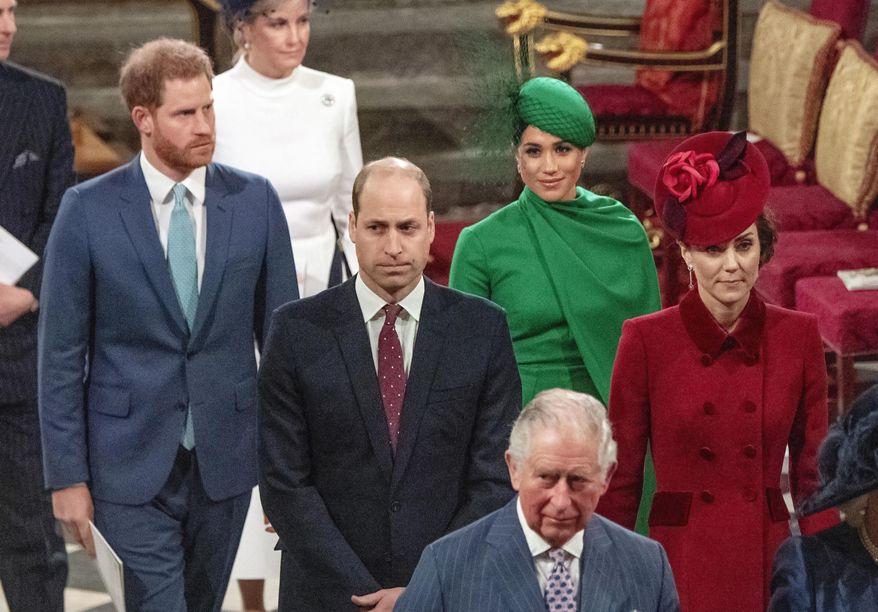 """FILE - In this file photo dated Monday March 9, 2020, from front, Britain's Prince Charles followed by Prince William and Kate, Duchess of Cambridge, with Prince Harry and Meghan Duchess of Sussex, as they leave annual Commonwealth Service at Westminster Abbey in London. The first instalment of a book serialisation entitled """"Finding Freedom,"""" published in the Times of London Saturday July 25, 2020, underscoreshurt feelings caused by the decisionof Harry and Meghan to go into self-imposed exile, and lays bare turmoil in the royal household before the pair walked away from their senior roles in the family. (Phil Harris / Pool via AP, File)"""