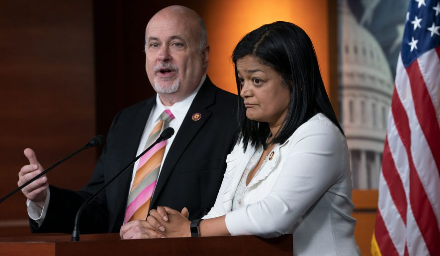 "Reps. Pramila Jayapal and Mark Pocan said unless there are new cuts to the Homeland Security spending bill, it would effectively ""sanction all the horrific violations of human rights and due process by ICE, CBP and other agencies."" (Associated Press)"