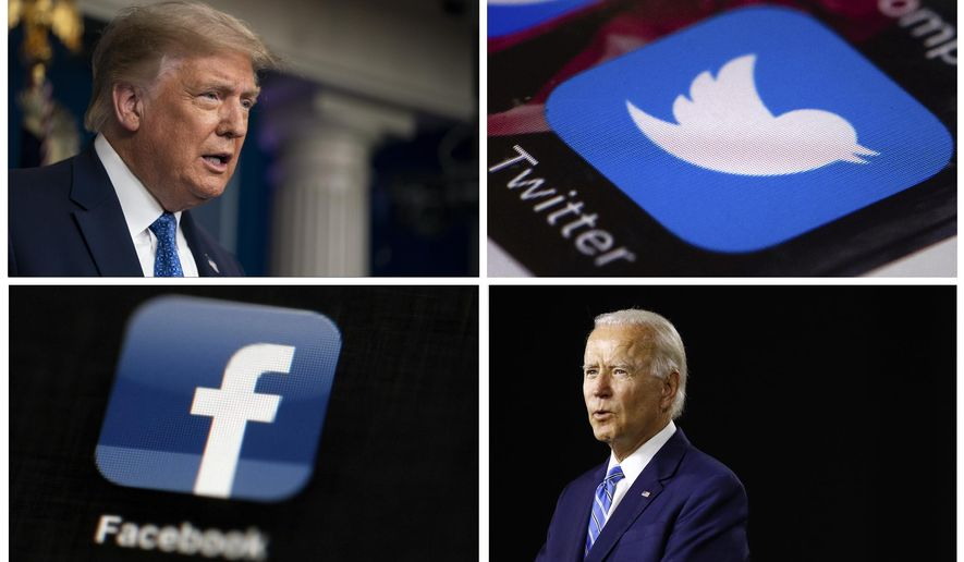 This photo combo of images shows, clockwise, from upper left: President Donald Trump speaking during a news conference at the White House on July 22, 2020, in Washington, the Twitter app, Democratic presidential candidate, former Vice President Joe Biden speaking during a campaign event on July 14, 2020, in Wilmington, Del., and the Facebook app. (AP Photo)