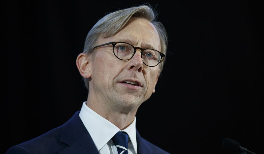 In this Nov. 29, 2018, photo, Brian Hook, U.S. special representative for Iran, speaks at the Iranian Materiel Display at Joint Base Anacostia-Bolling in Washington. The U.S. continues to push for an end of the four-nation boycott of Qatar, even after the hospitalization of Kuwait's ruling emir who led talks to resolve the yearslong dispute, Hook told journalists Sunday, July 26, 2020. (AP Photo/Carolyn Kaster) **FILE**