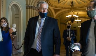 White House chief of staff Mark Meadows speaks to reporters at the Capitol, Thursday, July 23, 2020, in Washington. (AP Photo/Manuel Balce Ceneta)