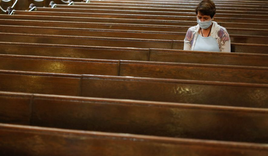 A study from LifeWay Research found that 71% of churches led by mainline Protestant or evangelical ministers met for in-person worship as recently as July 19. (ASSOCIATED PRESS)