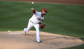 Washington Nationals starting pitcher Anibal Sanchez delivers during the first inning of a baseball game against the Toronto Blue Jays, Monday, July 27, 2020, in Washington. (AP Photo/Nick Wass)