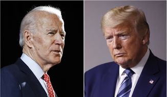 In this combination of file photos, former Vice President Joe Biden speaks in Wilmington, Del., on March 12, 2020, left, and President Donald Trump speaks at the White House in Washington on April 5, 2020. The Trump campaign is calling for a fourth debate to be added into the presidential-debate schedule, this one in early September, as the earliest scheduled debate now in the works for Sept. 29 comes weeks after the earliest early-voting periods begin in some states. (AP Photo, File)  ** FILE **