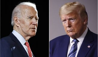 In this combination of file photos, former Vice President Joe Biden speaks in Wilmington, Del., on March 12, 2020, left, and President Donald Trump speaks at the White House in Washington on April 5, 2020. The Trump campaign is calling for a fourth debate to be added into the presidential-debate schedule, this one in early September, as the earliest scheduled debate now in the works for Sept. 29 comes weeks after the earliest early-voting periods begin in some states. (AP Photo, File)  **FILE**